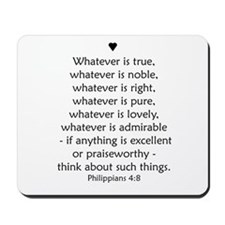 """Philipians 4:8"" Mousepad"