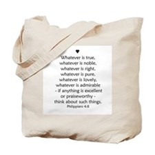 """Philipians 4:8"" Tote Bag"