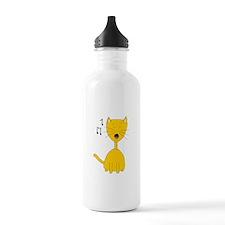 Cute Ginger Singing Cat Water Bottle