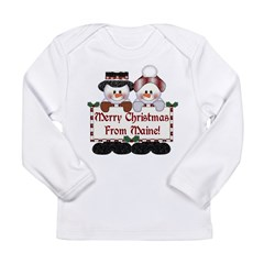Merry Christmas From Maine! Long Sleeve Infant T-S