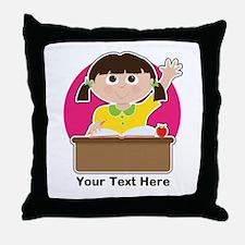 Little Girl at School Throw Pillow