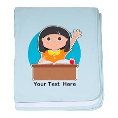 Little Girl at School Asian baby blanket