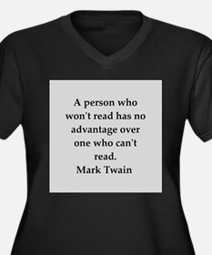 Mark Twain quote Women's Plus Size V-Neck Dark T-S
