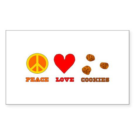 Peace Love Cookies Sticker (Rectangle)