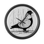 Starling Pigeon Silver Large Wall Clock