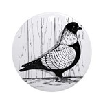Starling Pigeon Silver Ornament (Round)