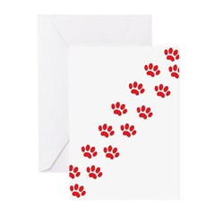 Paw Prints Greeting Cards (Pk of 20)