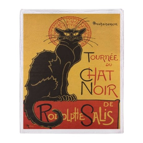 Le Chat Noir Throw Blanket By Ethnocentric