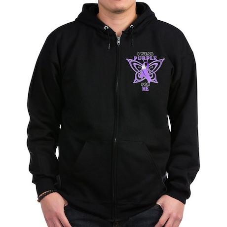 I Wear Purple for Me Zip Hoodie (dark)