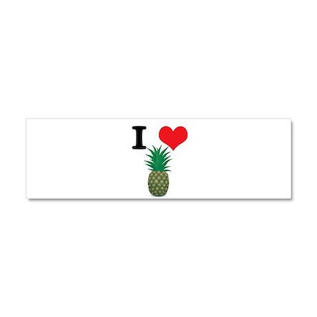 I Heart (Love) Pineapple Car Magnet 10 x 3