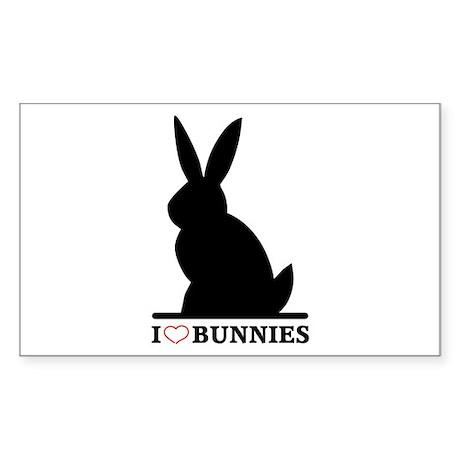 I Love Bunnies Rectangle Sticker