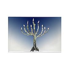 Branch Menorah Blue Rectangle Magnet