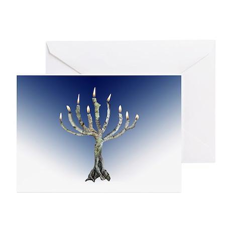 Branch Menorah Blue Greeting Cards (Pk of 10)