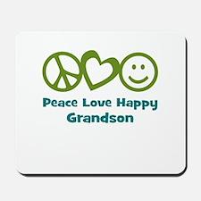 Peace Love Happy Grandson Mousepad