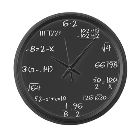 Gray Slate with White Chalk Large Wall Clock