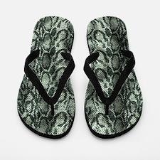 Green & Black Snakeskin Print Flip Flops