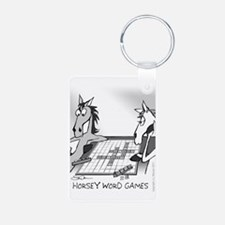 Horsey Word Games Aluminum Photo Keychain