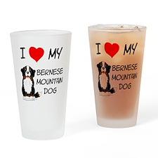 I Love Heart Bernese Dog Drinking Glass