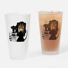 Coonhound and Raccoon Drinking Glass
