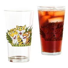 Cartoon Tiger Trio Drinking Glass