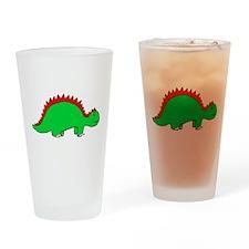 Smiling Green Stegosaurus Drinking Glass