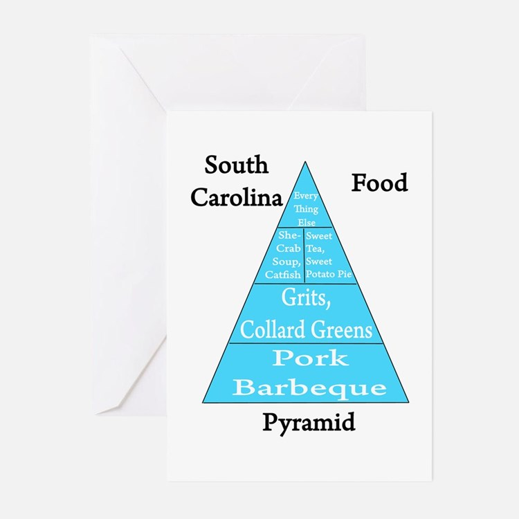 South Carolina Food Pyramid Greeting Cards (Pk of