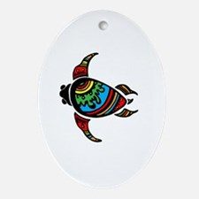 Funny Colorful turtle Oval Ornament