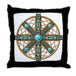 Native American Beadwork Mandala Throw Pillow