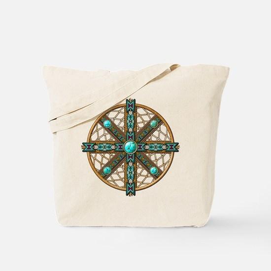 Native American Beadwork Mandala Tote Bag