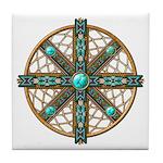 Native American Beadwork Mandala Tile Coaster
