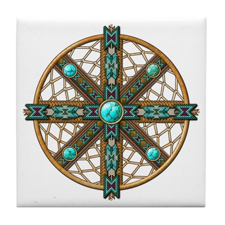 Native American Beadwork Mandala Tile Coaster