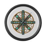 Native American Beadwork Mandala Large Wall Clock
