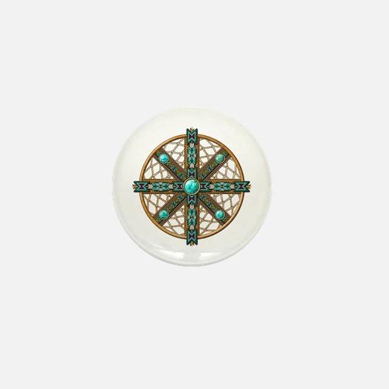 Native American Beadwork Mandala Mini Button