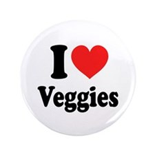 "I Love Veggies: 3.5"" Button"
