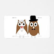 Wedding Owls Aluminum License Plate