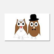 Wedding Owls Car Magnet 20 x 12