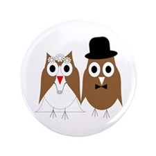 "Wedding Owls 3.5"" Button (100 pack)"