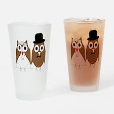 Wedding Owls Drinking Glass