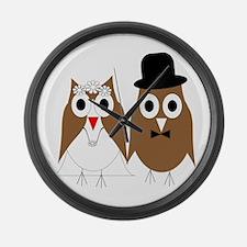 Wedding Owls Large Wall Clock