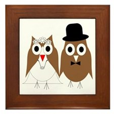Wedding Owls Framed Tile