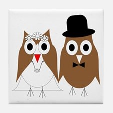 Wedding Owls Tile Coaster