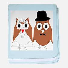 Wedding Owls baby blanket