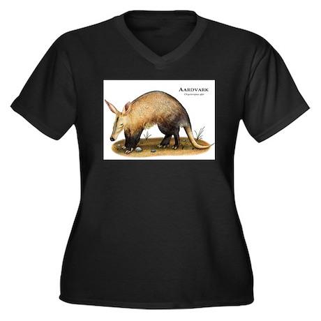 Aardvark Women's Plus Size V-Neck Dark T-Shirt