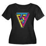 CMYK Triangle Women's Plus Size Scoop Neck Dark T-