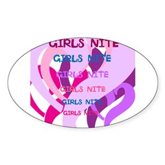 OYOOS girls nite design Sticker (Oval 10 pk)