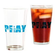 Real Men Pray - Lt Blue Drinking Glass
