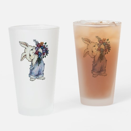 Bunny with Flowers Drinking Glass