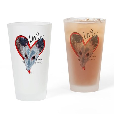 Possum Love Drinking Glass