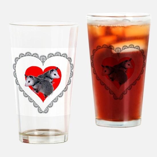 Possum Valentines Day Heart Drinking Glass
