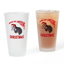 Santa Helper Possum Drinking Glass